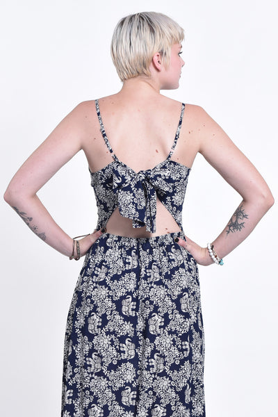 Blooming Elephant Tie Back Maxi Dress in Navy