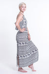 Boho Elephant Tie Back Maxi Dress in White