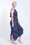 Petit Elephant Tie Back Maxi Dress in Navy