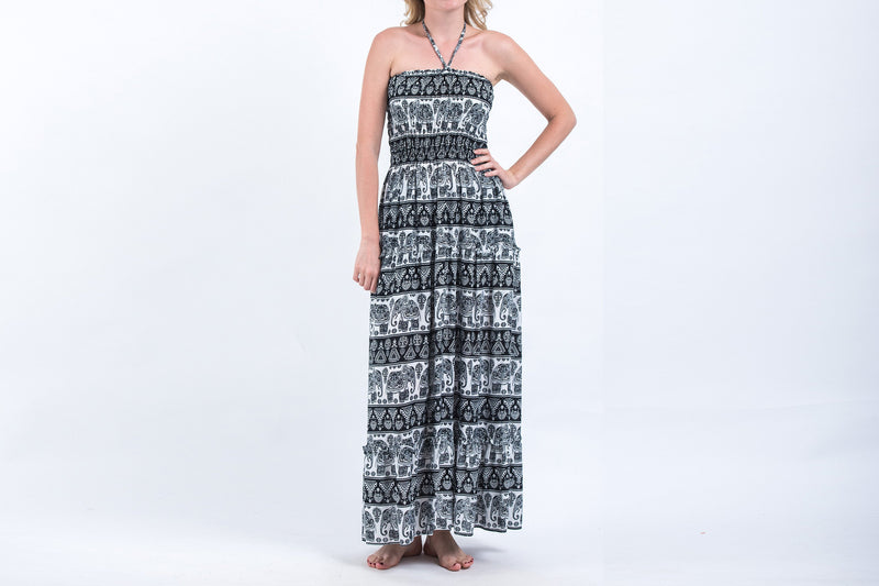 Aztec Elephants Smocked Bandeau Maxi Dress in Black White