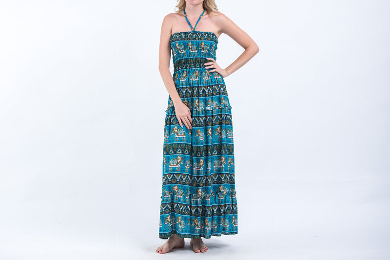 Aztec Elephants Smocked Bandeau Maxi Dress in Ocean Blue