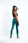 Lightning Stripes Tie Dye Cotton Leggings in Turquoise