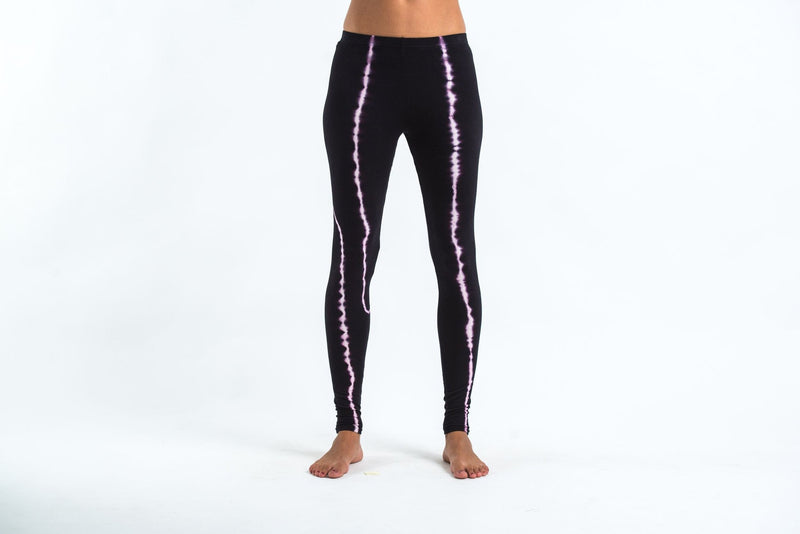 Black Tie Dye Cotton Leggings in Electra Pink