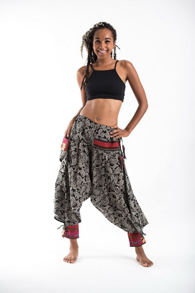 Paisley Hill Tribe Drawstring Women's Harem Pants with Ankle Straps