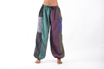 Women's Drawstring Patchwork Pinstripes Cotton Pants