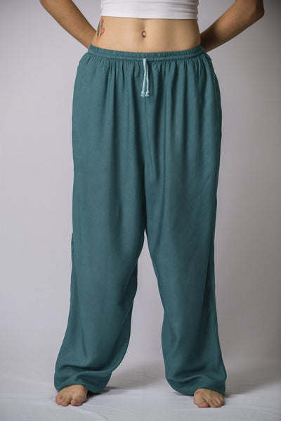 Solid Color Drawstring Women's Yoga Massage Pants in Dark Teal