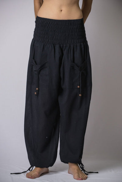 Women's Thai Smocked Waist Cotton Pants in Solid Black