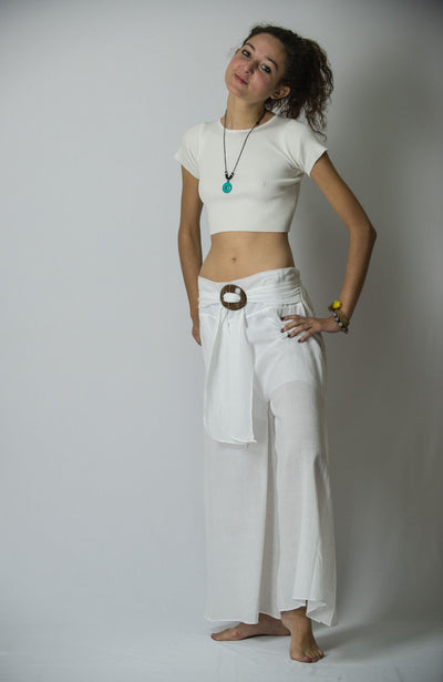 Women's Thai Harem Palazzo Pants in Solid White