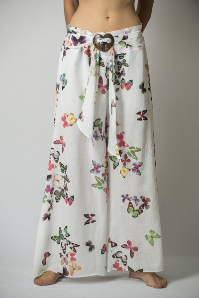 Women's Thai Harem Palazzo Pants in Butterflies Pink