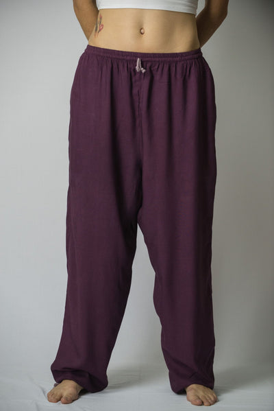 Solid Color Drawstring Women's Yoga Massage Pants in Dark Purple
