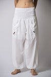 Women's Thai Smocked Waist Cotton Pants in Solid White
