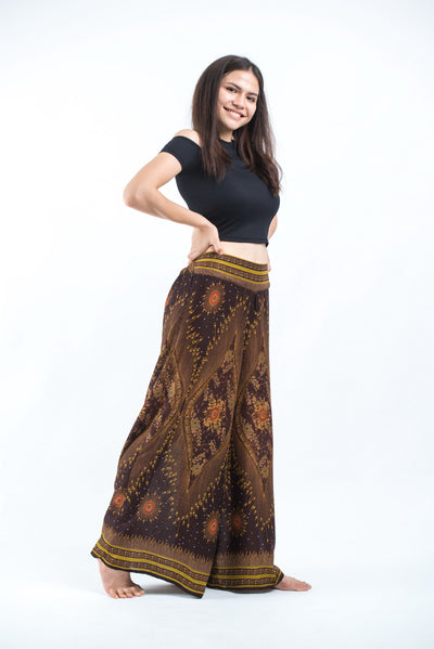 Peacock Eyes Palazzo Style Harem Pants in Brown Gold