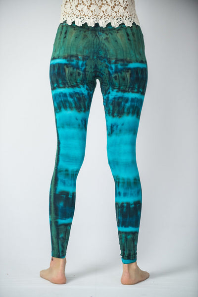 Patch Dye Tie Dye Cotton Leggings in Blue
