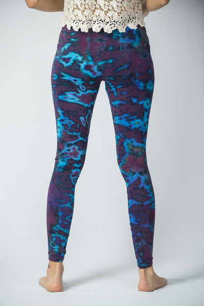 Marble Tie Dye Cotton Leggings in Indigo