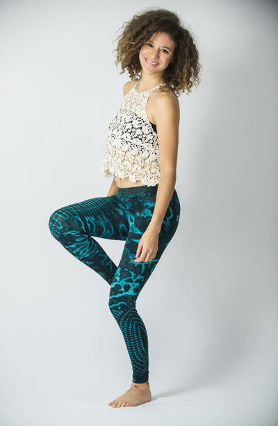 Oval Swirls Tie Dye Cotton Leggings in Blue