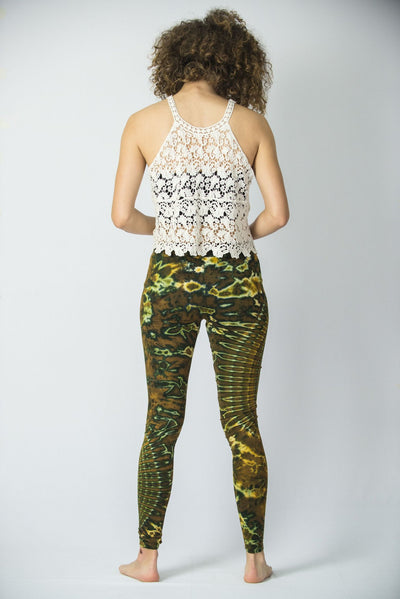 Oval Swirls Tie Dye Cotton Leggings in Green