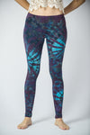 Swirls Tie Dye Cotton Leggings in Indigo