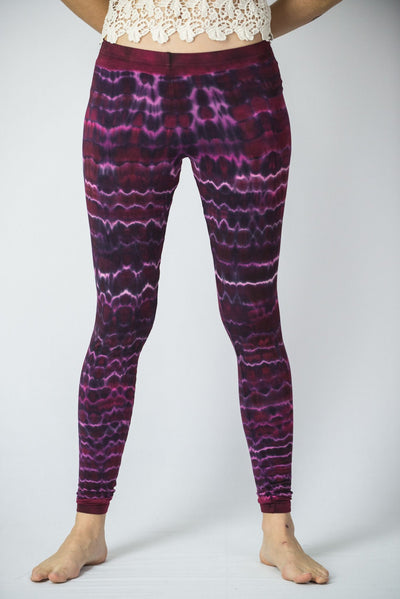 Melting Stripes Tie Dye Cotton Leggings in Magenta