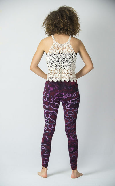 Marble Tie Dye Cotton Leggings in Purple