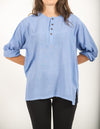 Womens Yoga Shirts No Collar with Coconut Buttons in Blue