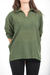 Womens Yoga Shirts Collar V Neck in Olive
