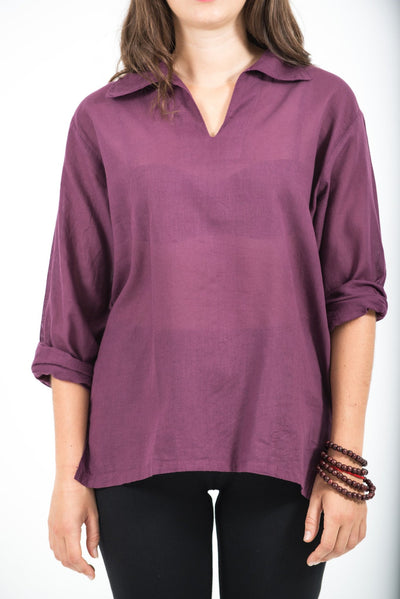 Womens Yoga Shirts Collar V Neck in Purple