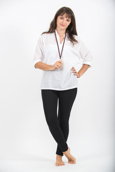 Womens Yoga Shirts Nehru Collared in White