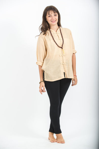 Womens Yoga Shirts Chinese Collared in Cream