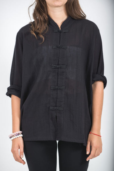 Womens Yoga Shirts Chinese Collared in Black