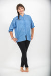 Womens Yoga Shirts Chinese Collared in Blue