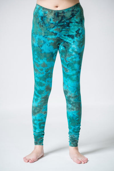 Marble Tie Dye Cotton Leggings in Turquoise