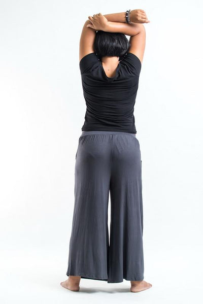 PLUS SIZE Wide Leg Palazzo Harem Pants Cotton Gray