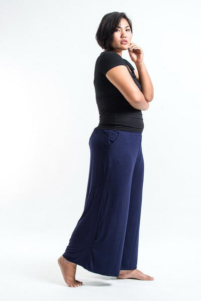 PLUS SIZE Wide Leg Palazzo Harem Pants Cotton Blue