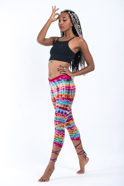 Melting Stripes Tie Dye Cotton Capri Leggings in Pink Rainbow