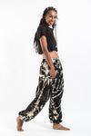 Tie Dye Cotton Women's Low Cut Harem Pants in Black and White