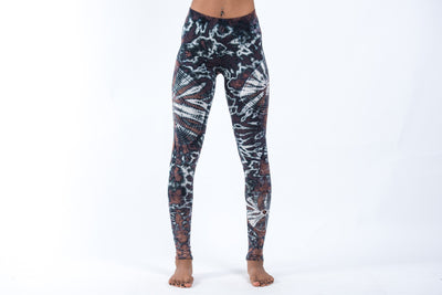 Swirls Tie Dye Cotton Leggings in Brown