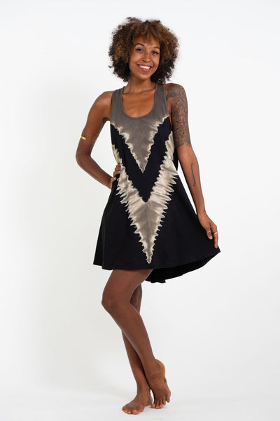 Tie Dye Cotton Tank Dress in Black 01