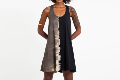 Tie Dye Cotton Tank Dress in Black 04