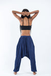 Women's Crinkled Hill Tribe Cotton Harem Pants in Navy