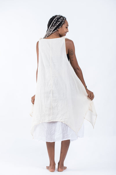 Women's Crinkled Hill Tribe Cotton Tank Dress in White