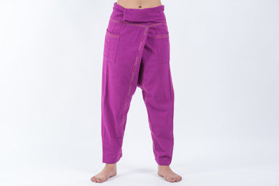 Hand Embroidered Women's Slim Cut Fisherman Pants in Purple