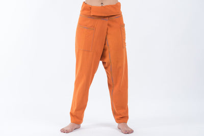 Hand Embroidered Women's Slim Cut Fisherman Pants in Orange