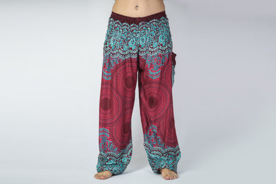 Geometric Mandalas Women's Harem Pants in Red