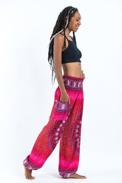 Tribal Chakras Women's Harem Pants in Pink