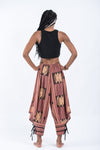 Thai Hill Tribe Fabric Women Harem Pants with Ankle Straps in Brick