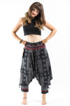 Black and Gray Thai Hill Tribe Fabric Women's Harem Pants with Ankle Straps