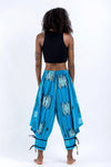 Thai Hill Tribe Fabric Women's Harem Pants with Ankle Straps in Baby Blue