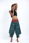 Clovers Thai Hill Tribe Fabric Women's Harem Pants with Ankle Straps in Green