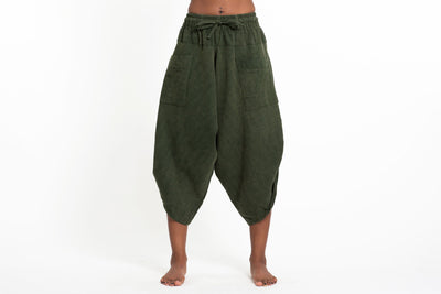 Stone Washed Large Pockets Women's Harem Pants in Dark Green