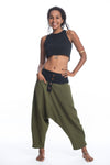 Cotton Women's Harem Pants with Faux Buttons in Green